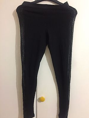 Sexy woman lady black leggin side hollow out design size M
