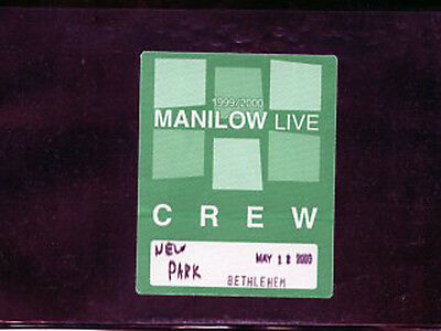 Barry Manilow 2000 Live -satin backstage pass crew May 12 - color green