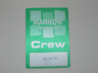Barry Manilow 2000-2001 -satin backstage pass crew Dec 8, 2000 - color green