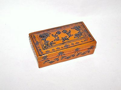 Small Vintage Wooden Box Trinkets/Jewellery Hand Painted Floral Design Varnished