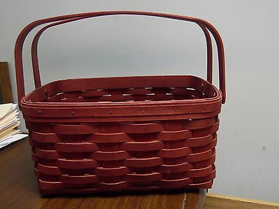 Longaberger Double Handled Lunch Pail Basket, Bold Red