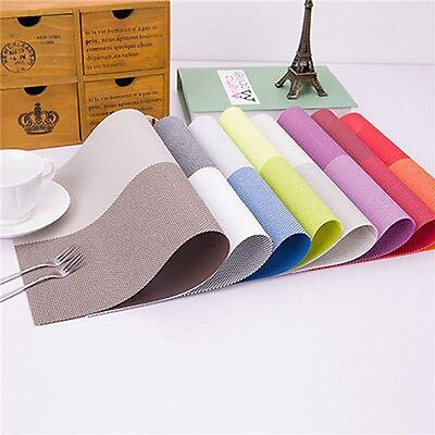Waterproof PVC Placemats Insulation Kitchen Dining Table Mat Coasters 6 Colors