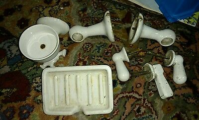 Vintage Bathroom Porcelain Fixture Toothbrush, Soap,Toilet Paper Holder 7 pcs