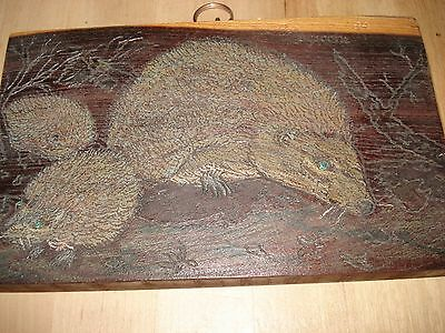 1989 Hand Carved Wooden Plaque Of Hedgehogs
