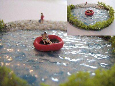 (DW2) Diorama - red rubber boat - lake Scale Gauge Z (1:220)