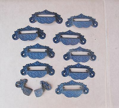 Cast Iron Drawer Pulls Hardware Apothecary Drug Store Label Holder Set 9 Antique