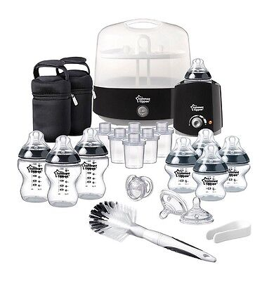Tommee Tippee  Electric Steriliser Newborn Baby Feeding Essentials Set - Black
