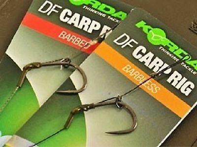 5 x Korda Ready Tied DF Carp Rig Barbed or Barbless Available Sizes 6, 8 or 10