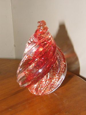 PHOENICIAN (MALTA) ART GLASS  SPECKLED SHELL PAPERWEIGHT *Signed*
