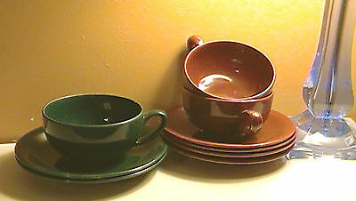 Vernon Kilns Colorful Dishes Casual California Pottery Mahogony & Pine CA Cali