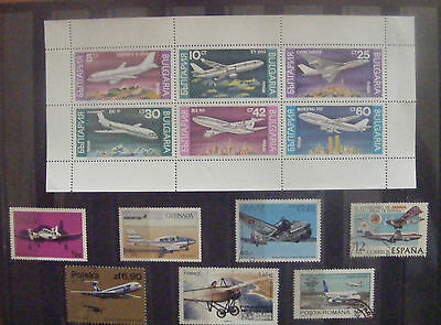 F020 - avions - Bulgarie + 7 timbres