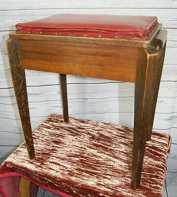 Antique Arts & Crafts Wooden Piano Music Stool with Hinged Leather Seat + Storag