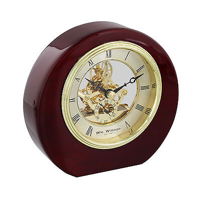Round Wooden Piano Wood Open Mechanism Skeleton Mantel Table Clock 13cm Mahogany