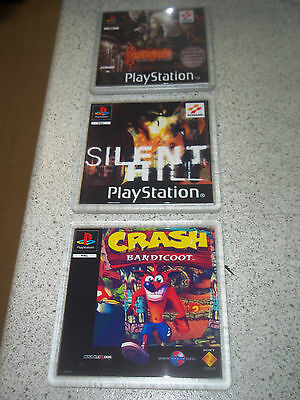 Classic Playstation 1 Drinks Coasters.Set Of 3.Front/Rear Artwork.Retro Gift.