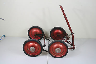 Antique 1970's Wagon Wheels Red Kid Cart Metal Hardware No Platform for Project
