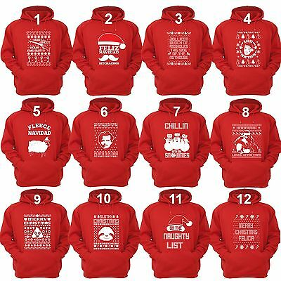 Unisex UGLY CHRISTMAS SWEATER Vacation Santa Funny Women's Mens Hoodie RED
