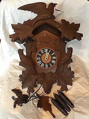 Large Antique German MUSICAL Black Forest Carved Cuckoo Clock W Birds