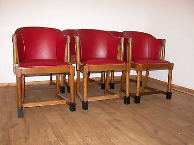 Set 6 Original Art Deco Oak Framed Arm Chairs, Red Upholstery Attractive Antique