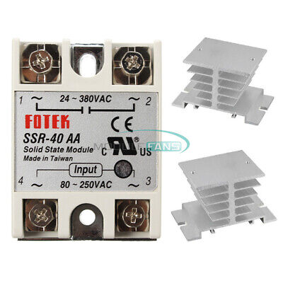SSR-40AA-H 40A Solid State Relay Module 90-480V AC /80-280V AC + Heat Sink  M
