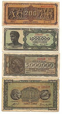 Four 1944 Greece Inflation Banknotes--Normal Circulation Wear !