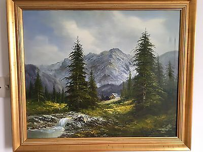Oil On Canvas Painting of an Alpine Landscape.