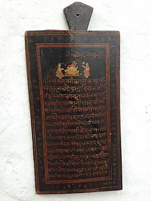 Antique 19th C Painted Indian Hindu Religious Lesson Or Devotion Board