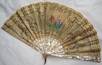 Antique French Spanish mother of pearl, silk pastiche + sequins fan 18th-19th c.