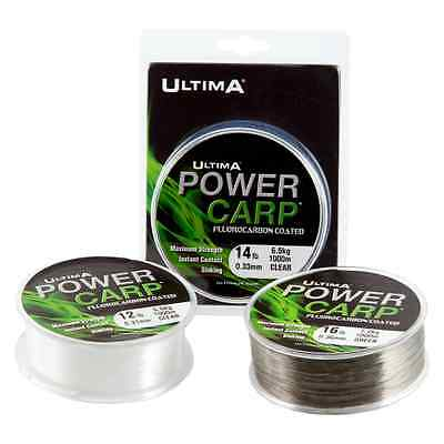Ultima Power Carp Fluorocarbon Coated Mainline - Clear or Green - All Sizes