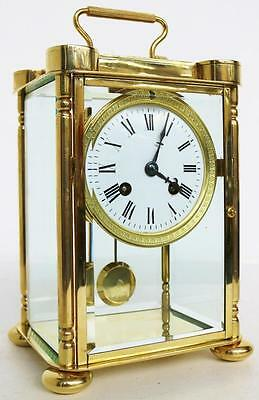 Antique French Brass & Bevelled 4 Glass Table Regulator Carriage Mantel Clock