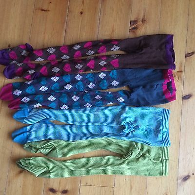 4 Pairs Girls Woolly Tights Mini Boden And Next Funky Aged 7-8