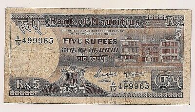 ND(1985 Mauritius Five Rupees  Banknote P#34--No Pinholes nor Tears
