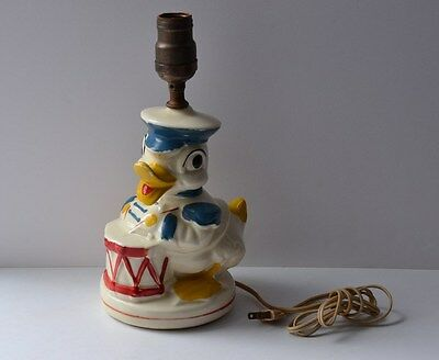 VINTAGE CERAMIC BISQUE DONALD DUCK with DRUM Nursery Table Lamp