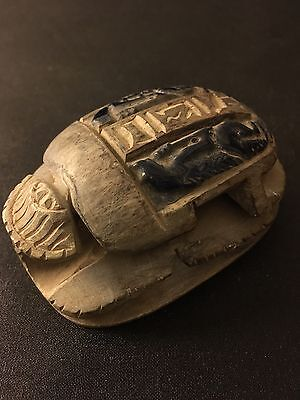 Large RARE ANCIENT EGYPTIAN ALBASTER SCARAB - 320 BC