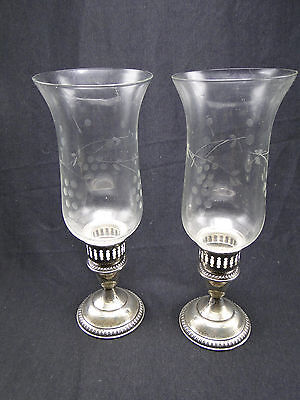 "Pair 11"" Glass Hurricane Shade Empire Sterling Silver Base Candleholders"