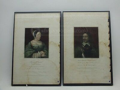 Antique Hand Colored Engravings 1819 & 1824 Margaret Tudor and Robert Debereux