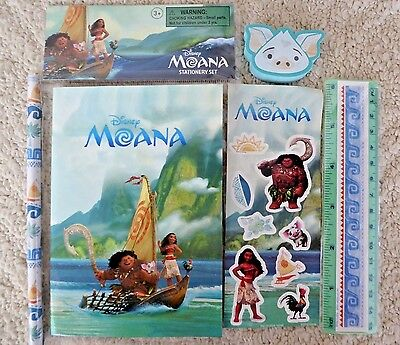 Disney Moana  Set Of Pencil-Ruler-Eraser-Stickers-Paper  Brand New In Sealed Bag