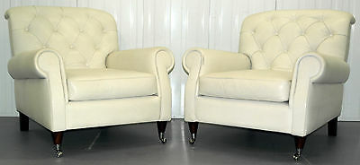 Pair Of New Lof's Daphne Armchairs Rrp £6200 Hand Made In Italy White Leather