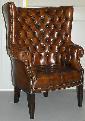 Extremely Rare 1973 Barrel Back Chesterfield Hand Dyed Wingback Leather Armchair