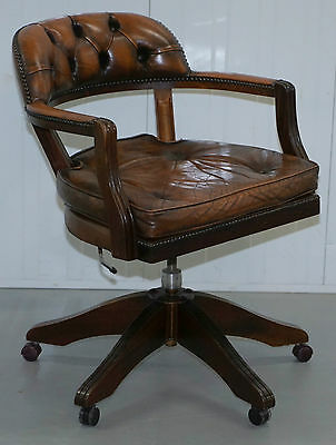 Stunning Cushioned Chesterfield Admirals Court Captains Aged Brown Leather Chair