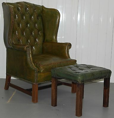 Georgian Chesterfield Wingback Armchair & Matching Footstool Rare Find Must See