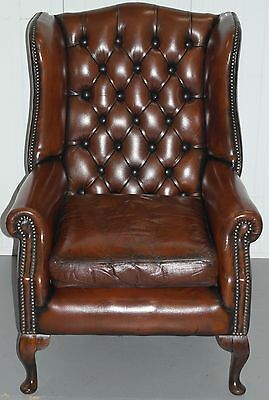 Restored Hand Dyed Chesterfield Aged Whiskey Brown Leather Wingback Armchair