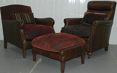 Rrp £3800 Stunning Pair Of Tetrad Club Armchairs & Stool Vintage Brown Leather