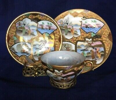 Stunning Vintage Asian / Chinese Cup and Saucer Trio Set