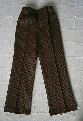 Vintage Stretch Trousers - Age 4 - Brown/Black Check - Elastic Waist - New