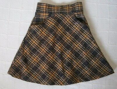 "Vintage  Girls Skirt - 22"" Waist - Brown/Yellow Flared - 2 Pockets - New"