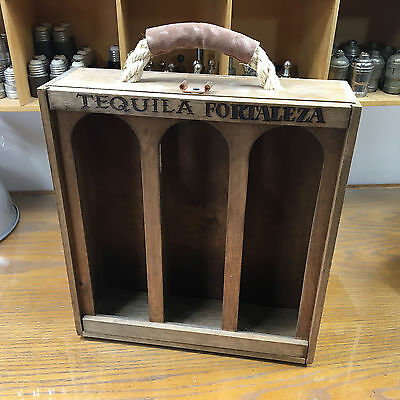 Tequila Fortaleza 3 Bottle Carrier Display Box Tlaquepaque Mexico wood handmade