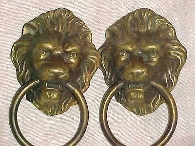 2 Vintage Large Brass? Lion Heads Dresser/Drawer Pulls w/Ring In Mouth 3 1/2""