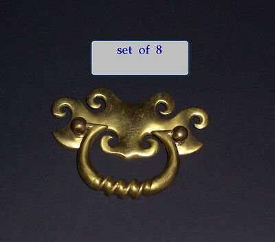 SET 8  ANTIQUE ARTS & CRAFTS PERIOD HARDWARE DRAWER PULLS  BRONZE or BRASS ??