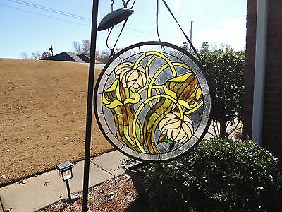 "Flower Design Leaded Stained Glass Window Ornament (17"" Diameter)"