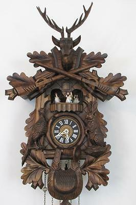 MUSICAL CUCKOO CLOCK 8 day DANCING PEOPLE & REUGE MUSIC BOX with shut off lever